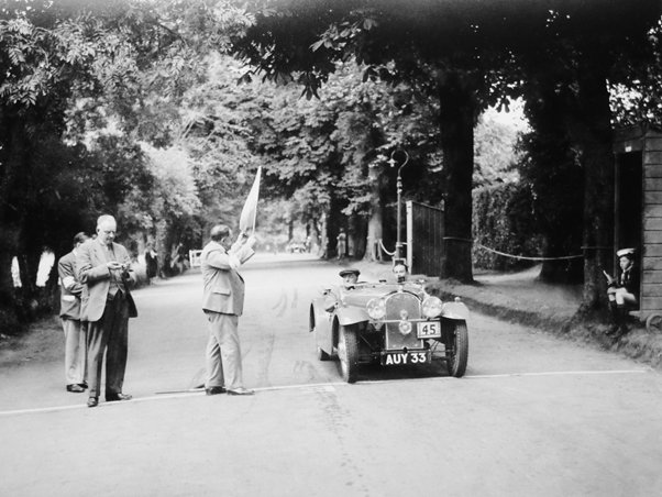George Goodhall starting a special test on a rally in 1937